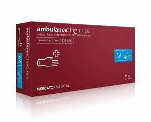 "Rękawice lateksowe AMBULANCE high risk ""L"" 50szt"